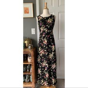 Vintage 90's floral rayon maxi dress 3096